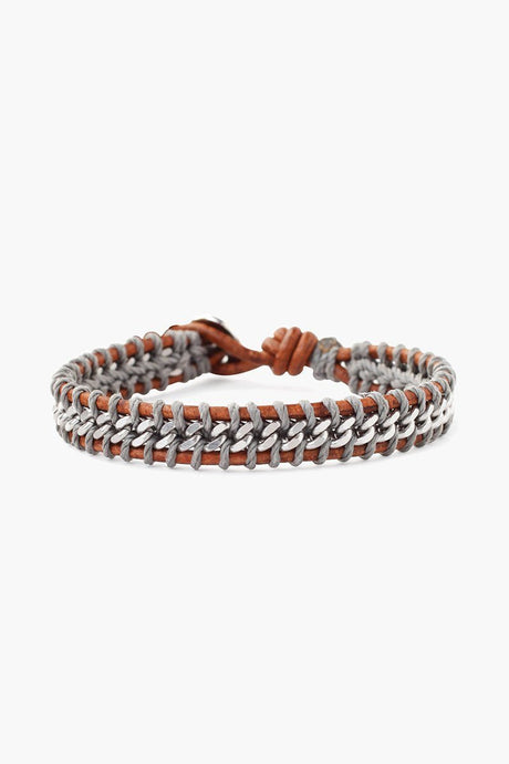Natural Brown Mix Chain Single Wrap Bracelet