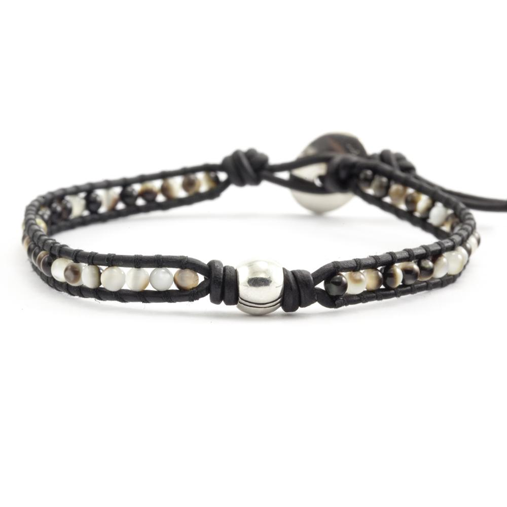 Black Mother of Pearl Single Wrap Bracelet on Natural Black Leather