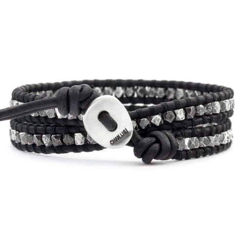 Gunmetal Nugget Double Wrap Bracelet on Natural Black Leather