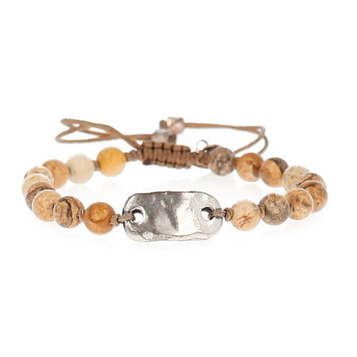 Picture Jasper and Silver Tag Pull-Tie Bracelet