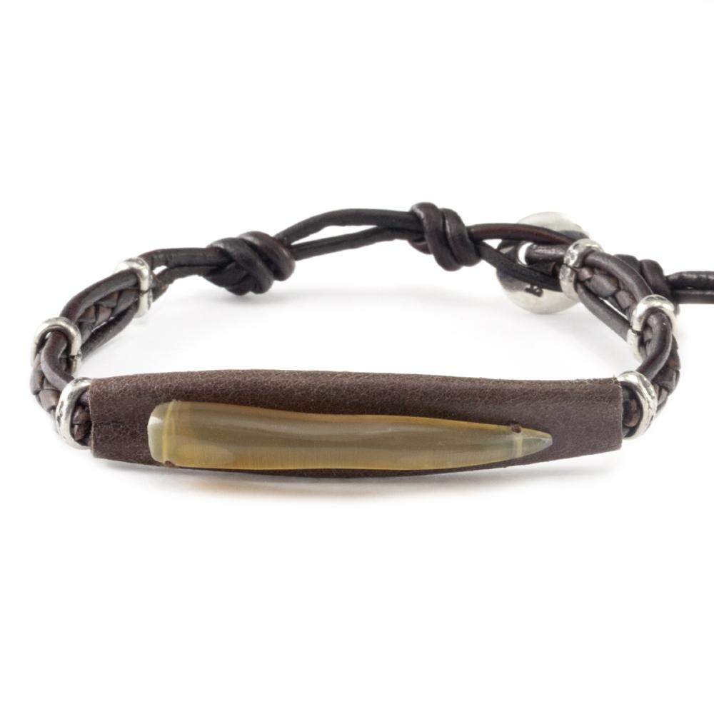Dark Brown Mix Horn Single Wrap Bracelet