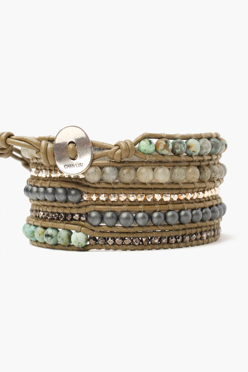 Matte Labradorite Mix Five Wrap Bracelet
