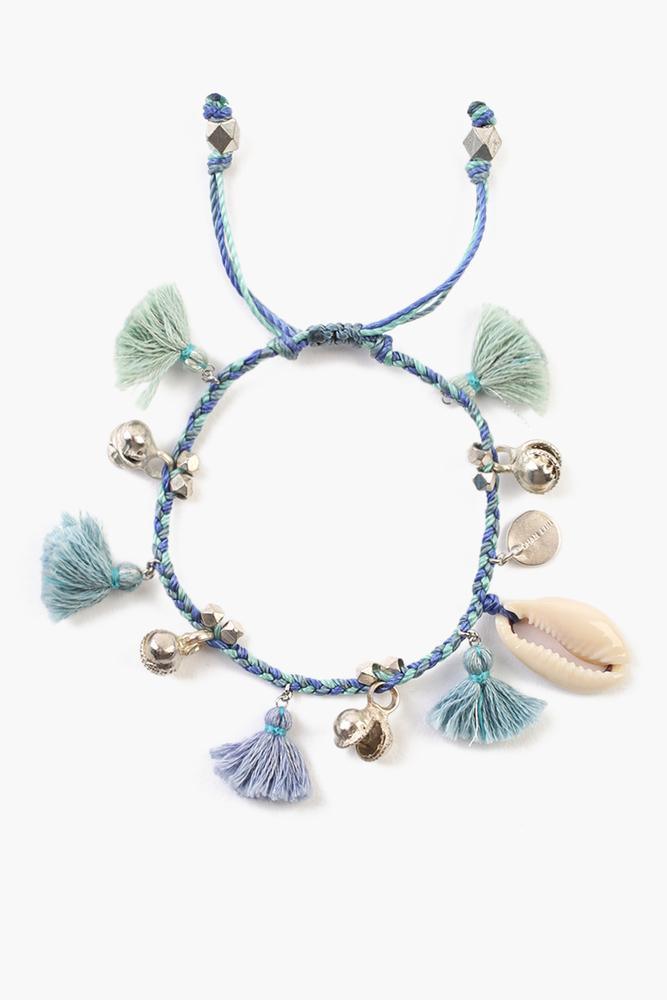 Blue Mix Cowry Shell Pull-Tie Bracelet