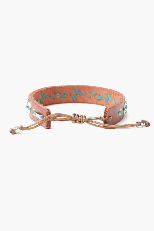 Turquoise Mix Leather Pull-Tie Bracelet