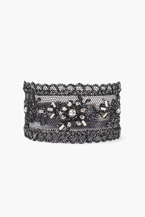 Black Mix Lace and Crystal Cuff