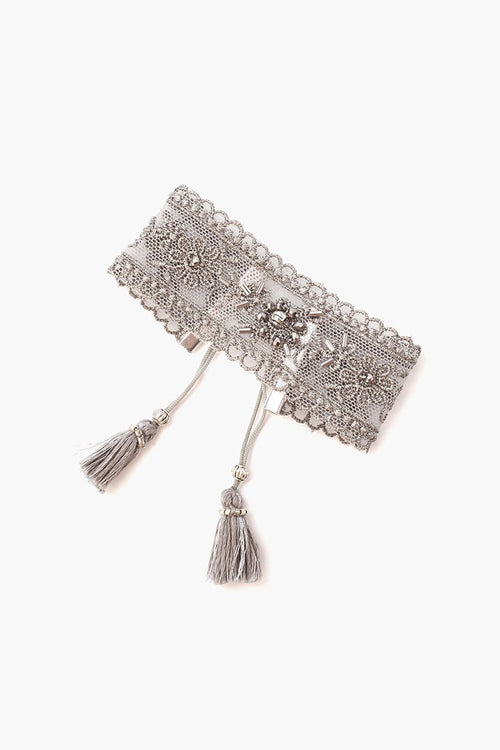 Grey Mix Lace and Crystal Cuff