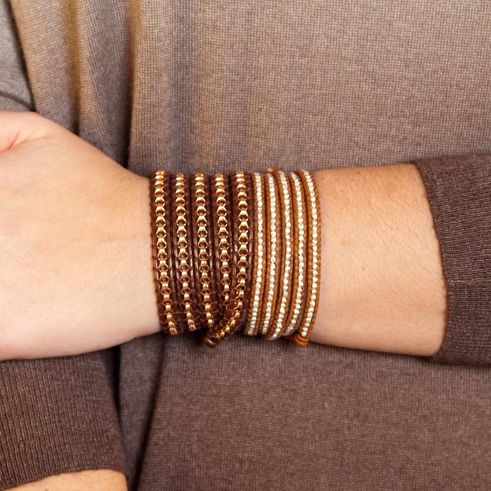 Sterling Silver Wrap Bracelet on Natural Brown Leather