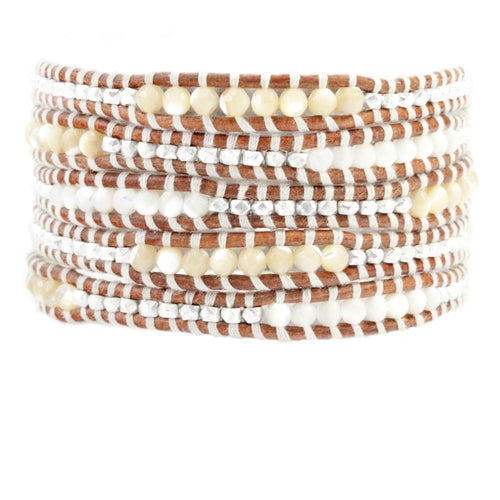 White and Silver Mix Five Wrap Bracelet on Natural Brown Leather