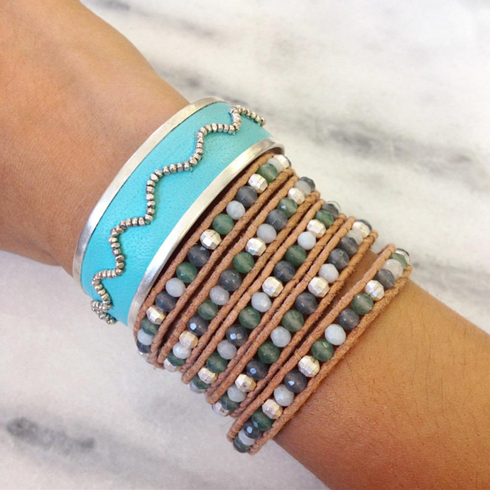 Silver Bead Cuff on Turquoise Leather