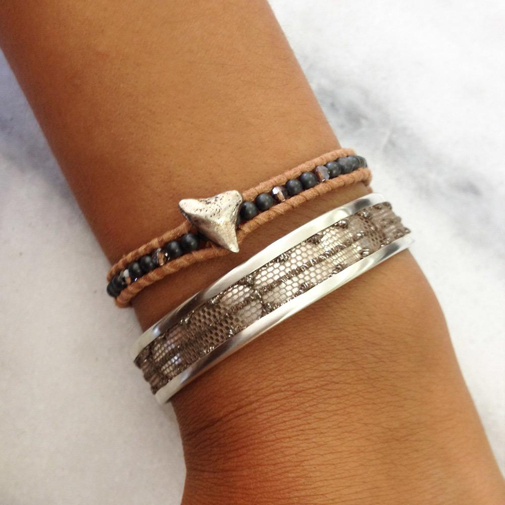 Hematine Mix Single Wrap Bracelet with Silver Shark Tooth