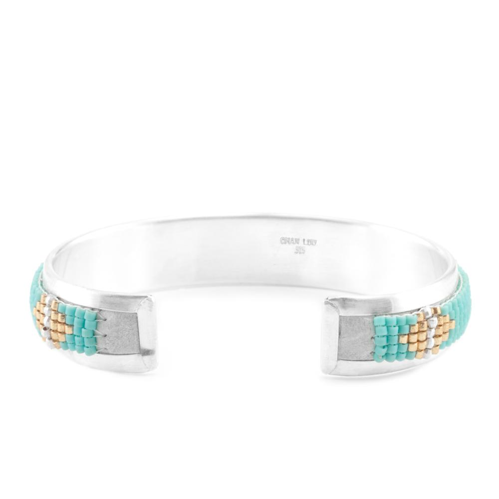 Turquoise Mix Silver Open Cuff