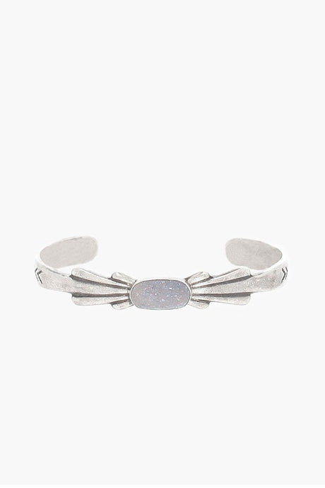 Rainbow Agate and Sterling Silver Moonbeam Cuff