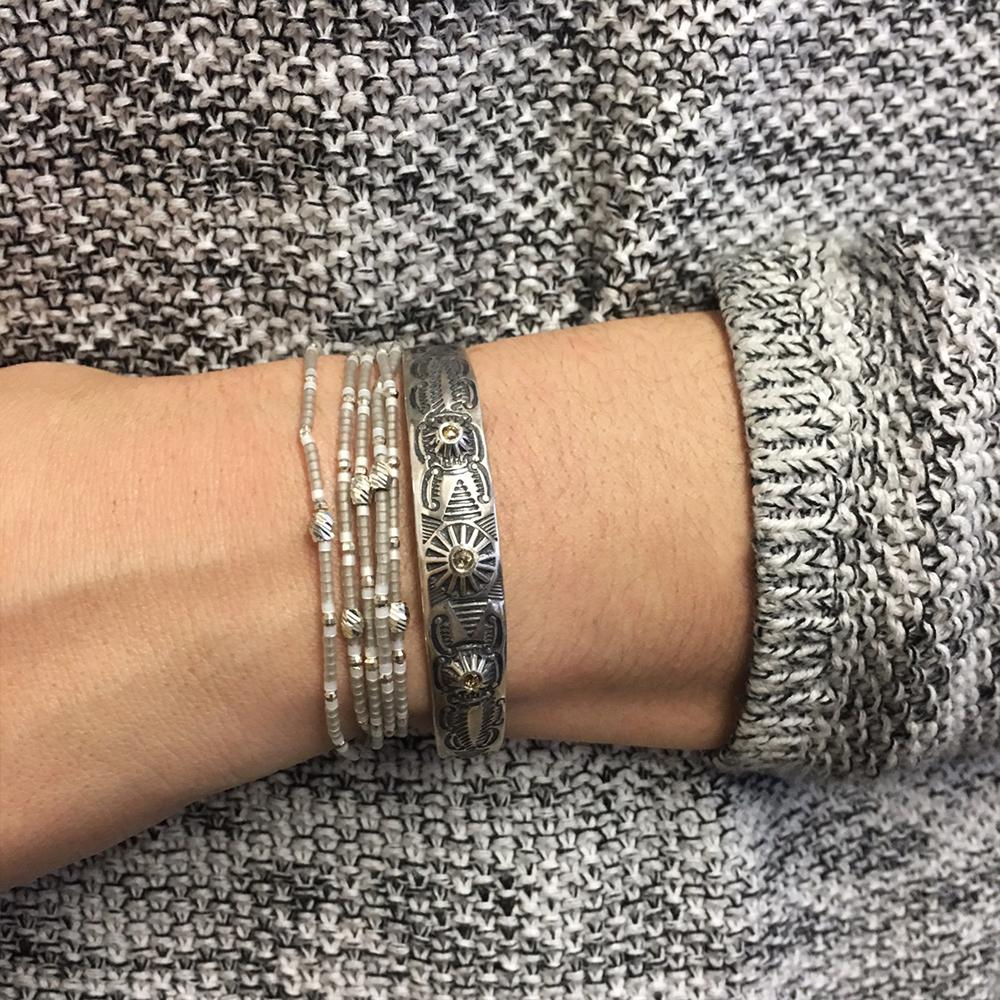 Light Grey Mix Multi Strand Single Wrap Bracelet