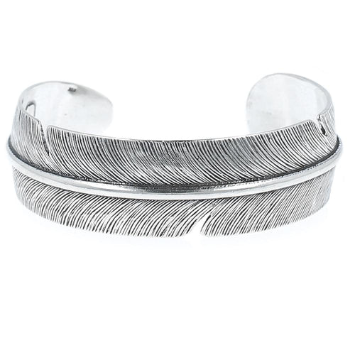 Silver Feather Wide Cuff