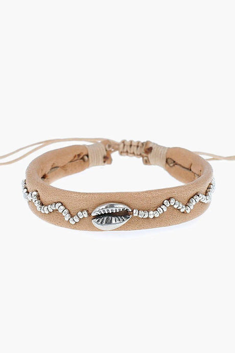 Tan Leather Beaded Shell Pull-Tie Bracelet