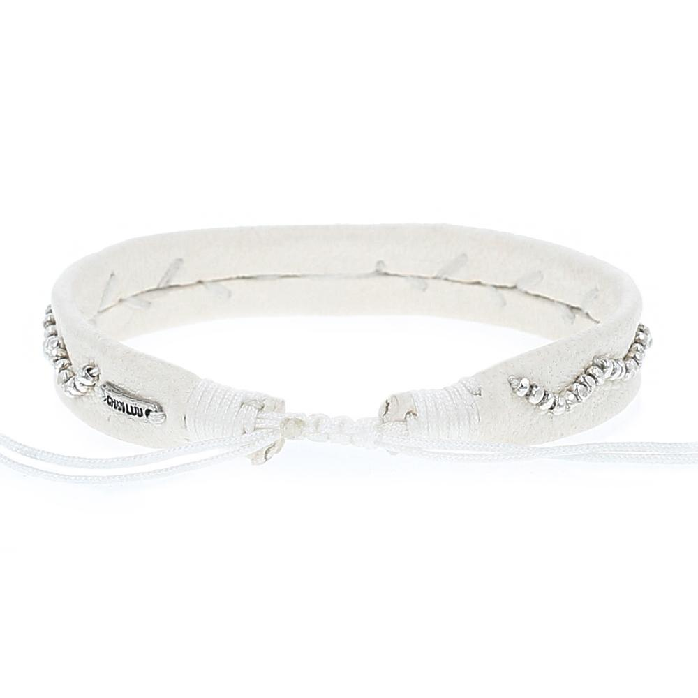 Vanilla Leather Beaded Shell Pull-Tie Bracelet