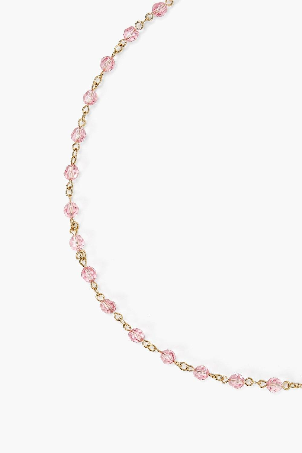 Light Rose Pink Crystal Mask Chain