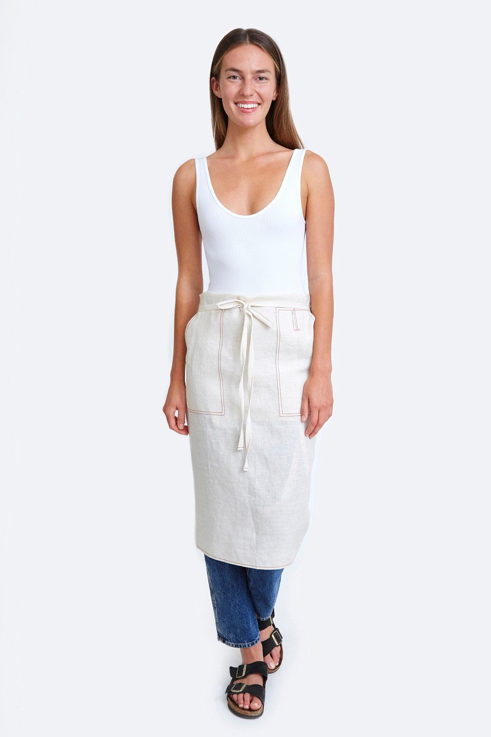 Natural White Linen Apron