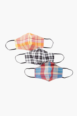 Dark Plaid Face Mask (Three-Pack)