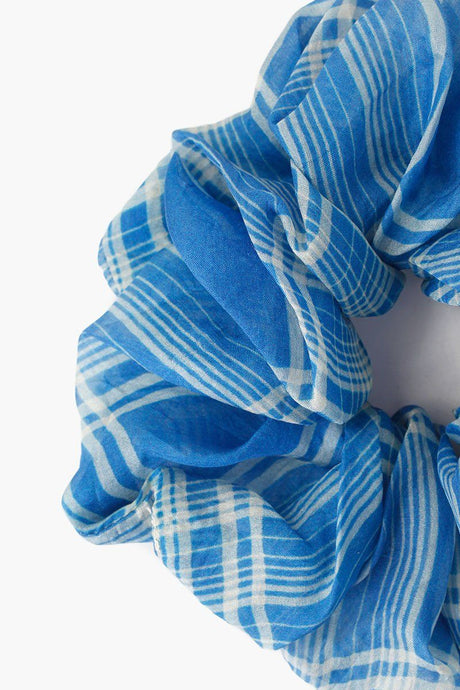 Palace Blue Plaid Scrunchie