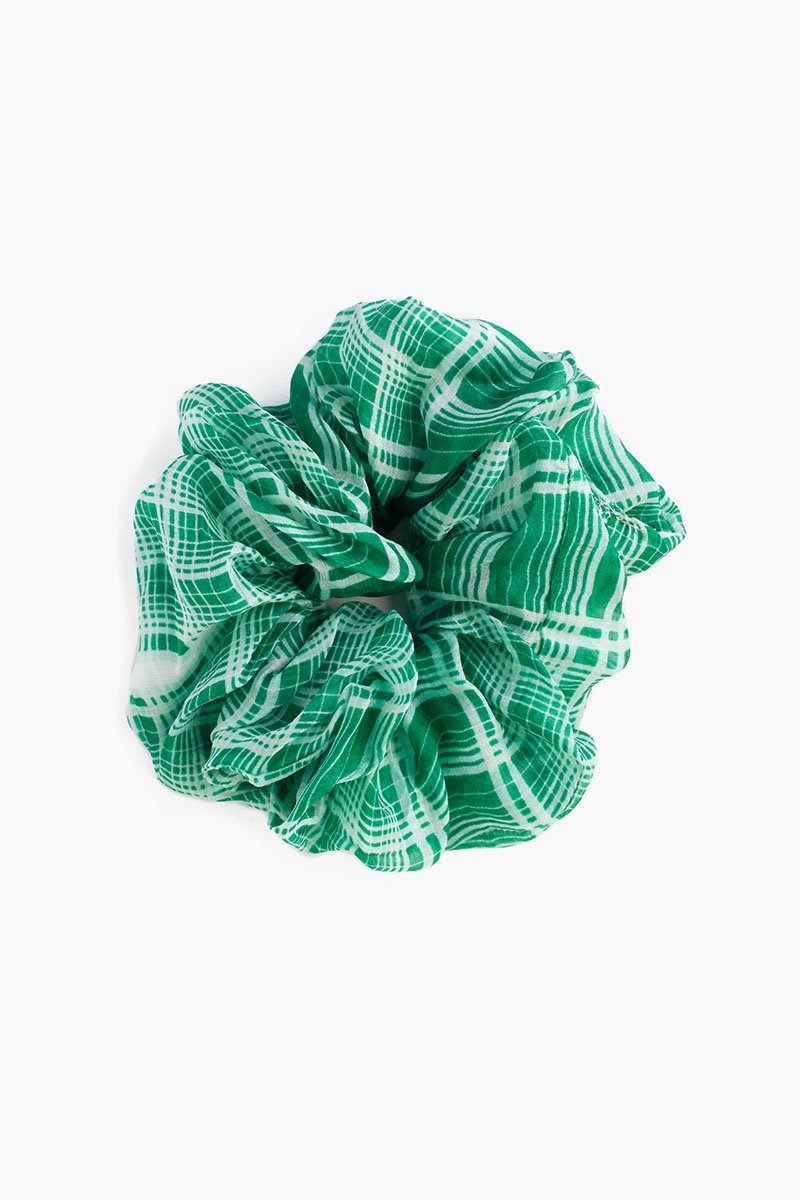 Verdant Green Plaid Scrunchie