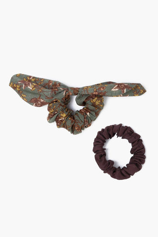 Set of Two Olivine Scrunchies