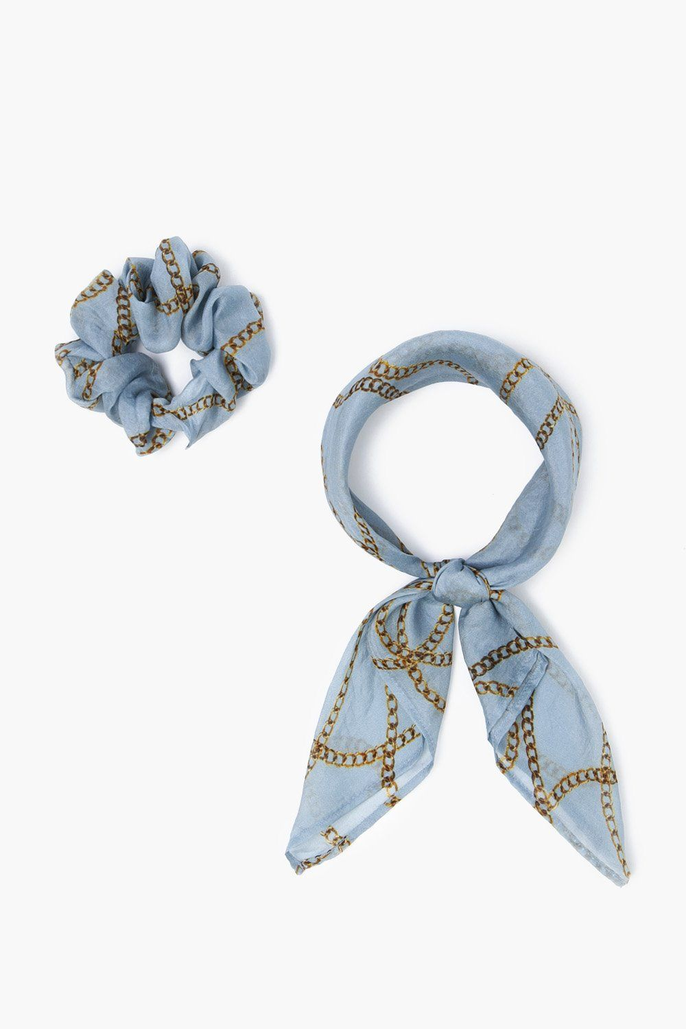 Dusty Blue Vintage Chain 2-in-1 Scrunchie With Bandana