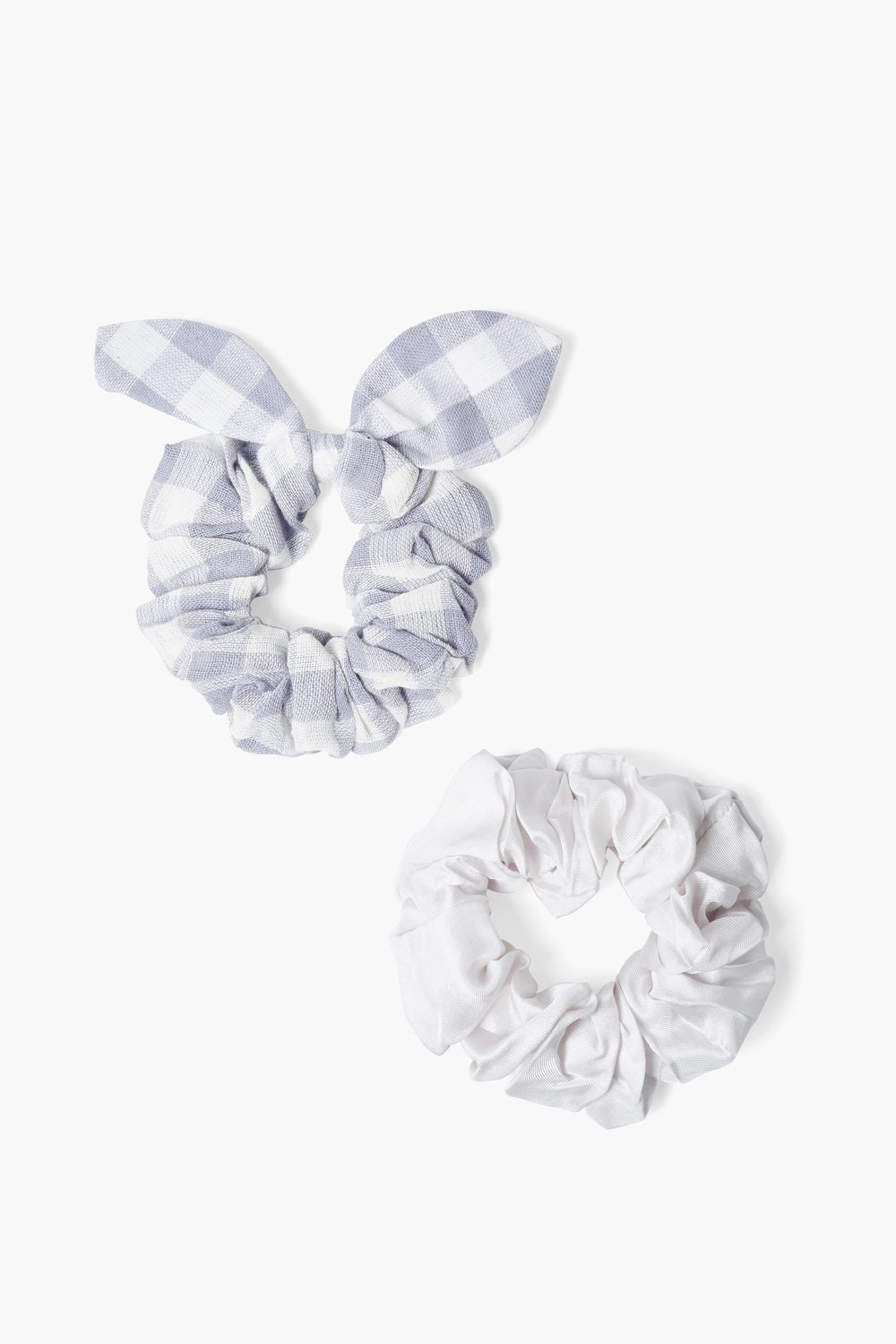 Set of Two Dapple Gray Gingham Bow Scrunchies