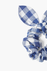Set of Two Gray Blue Gingham Bow Scrunchies