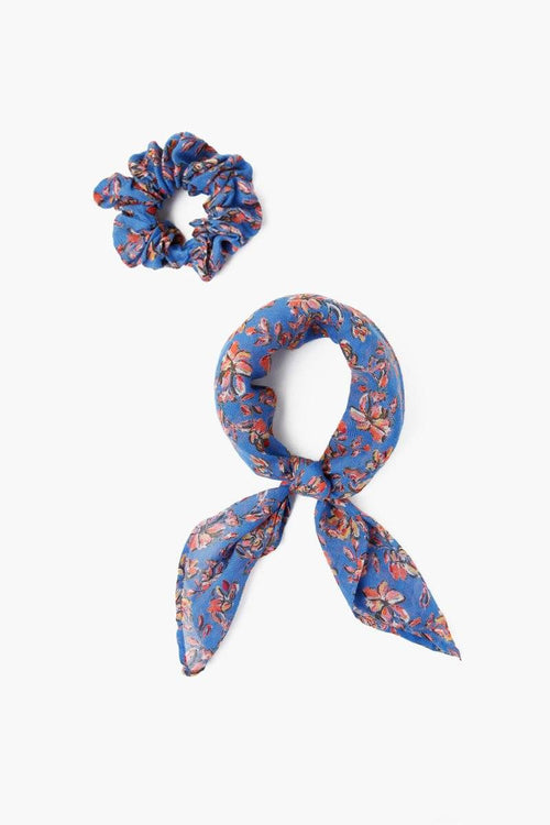 Palace Blue Floral Print 2-In-1 Scrunchie With Bandana