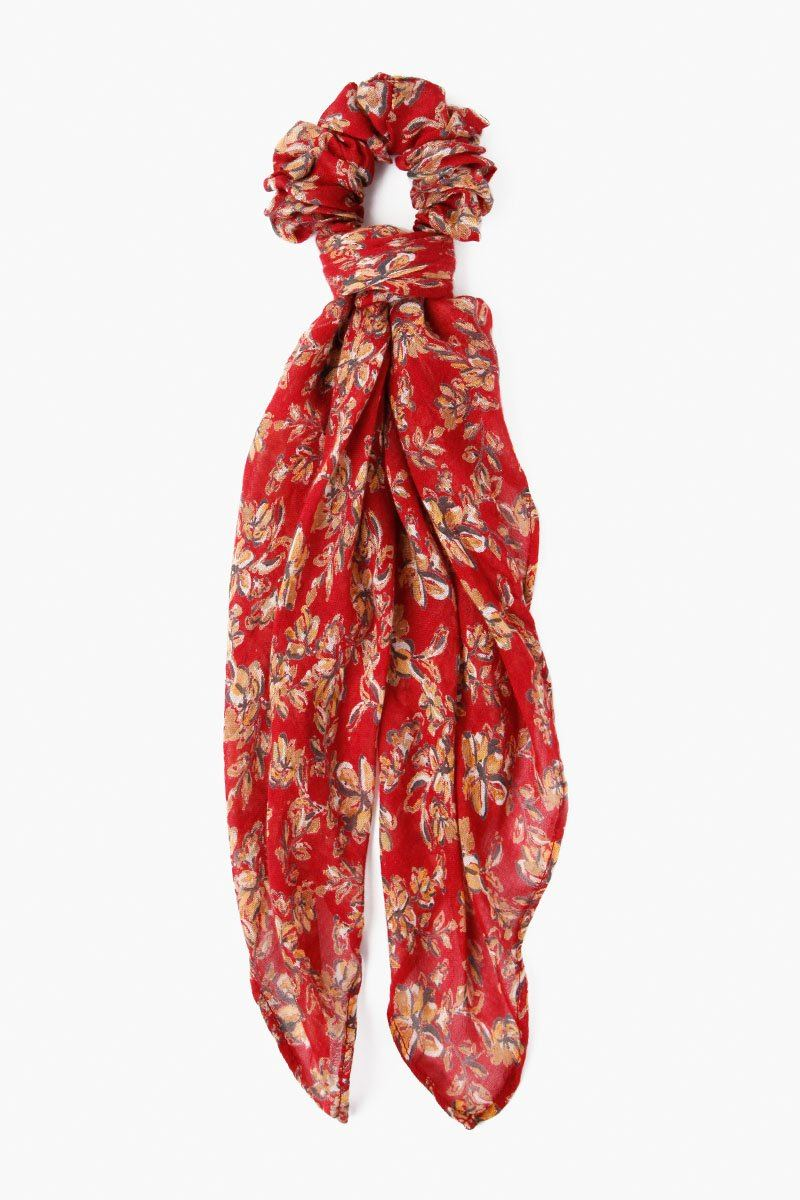 Rio Red Floral Print 2-In-1 Scrunchie With Bandana