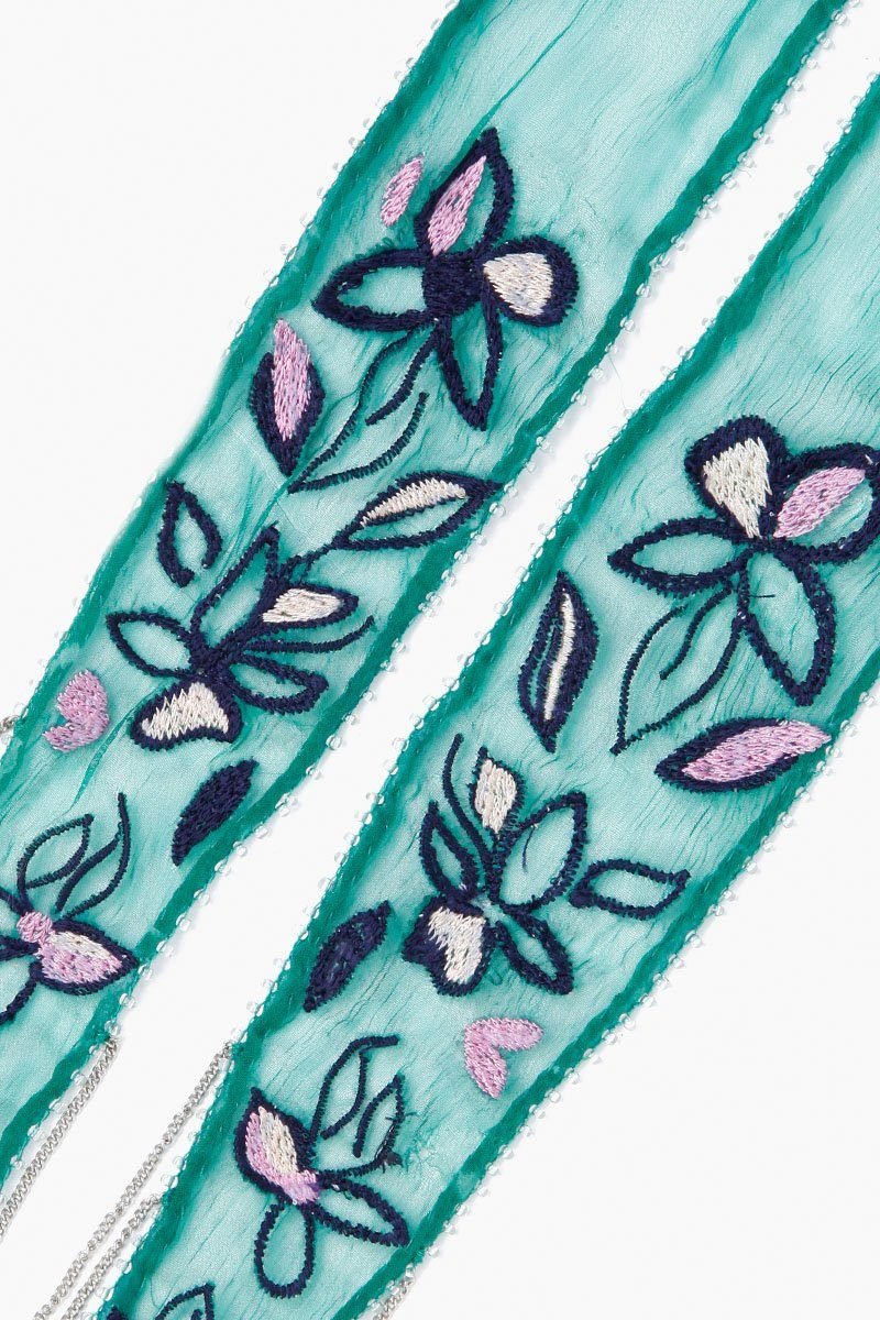 Verdant Green Floral Embroidered Long Skinny Scarf