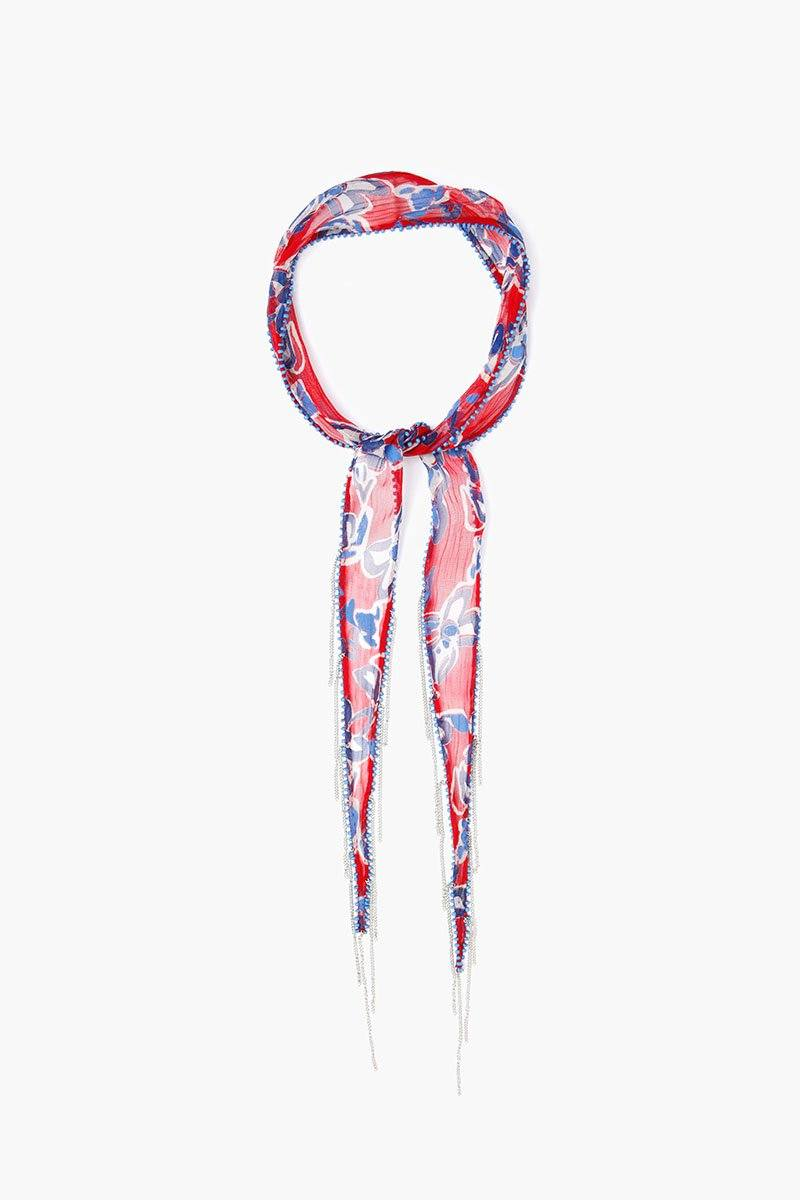 Barbados Cherry Painterly Floral Short Skinny Scarf