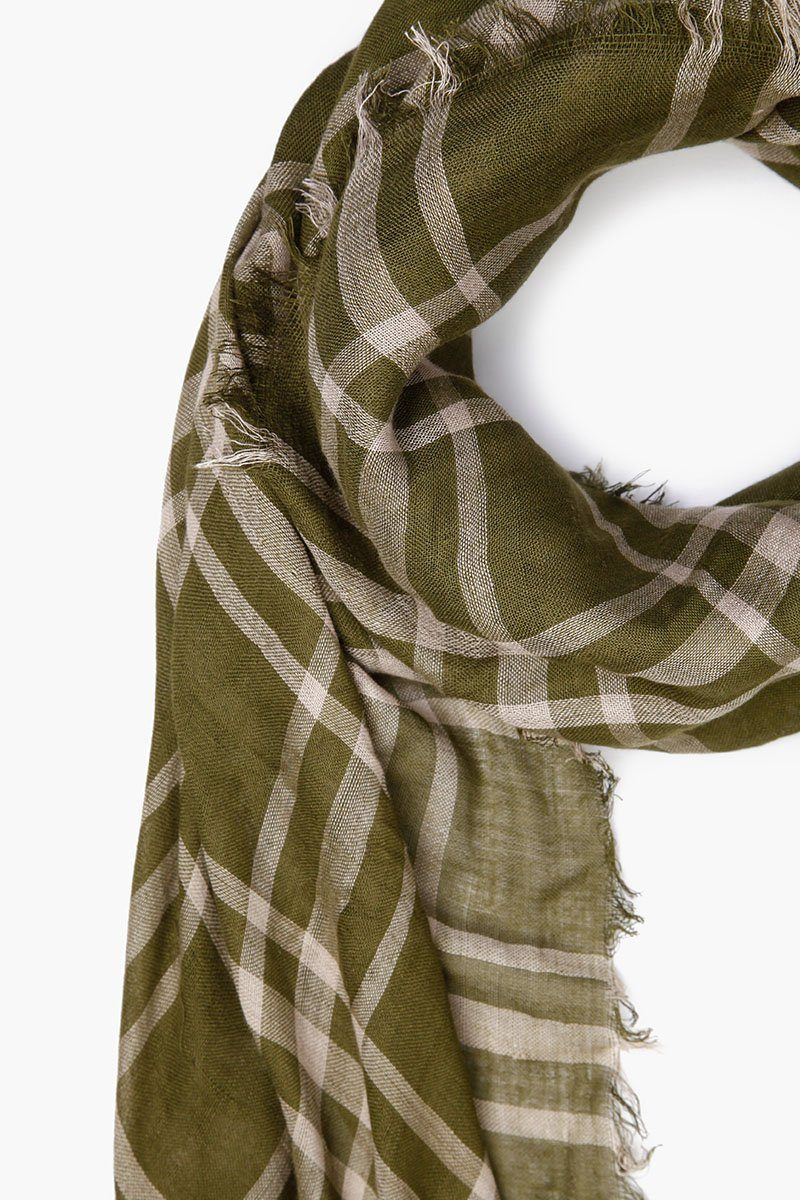 Fir Green Plaid Cotton Scarf