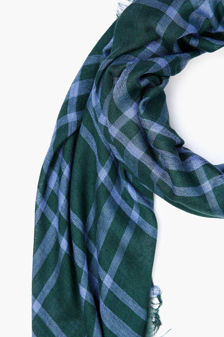 Jungle Green Plaid Cotton Scarf