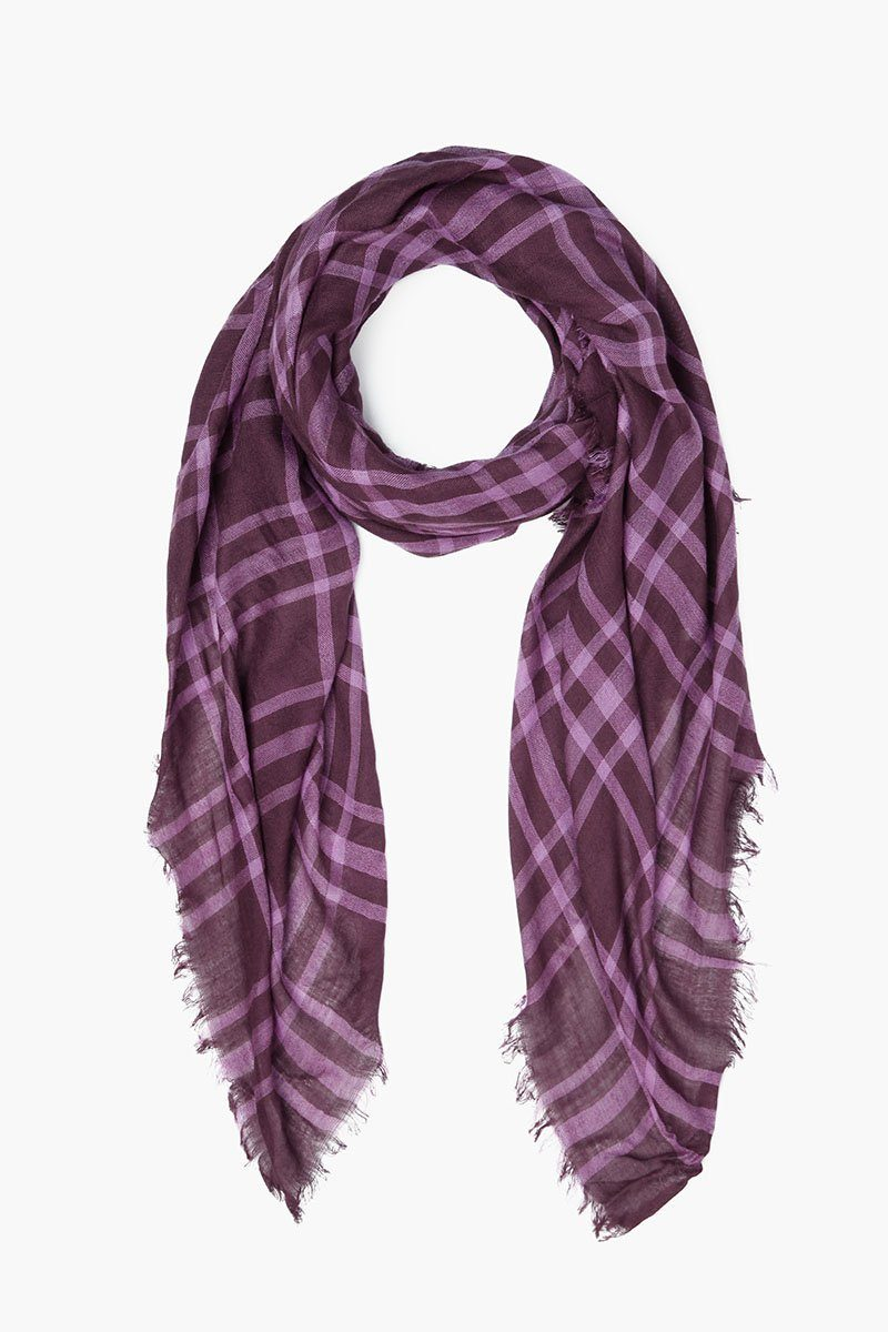 Puce Plaid Cotton Scarf