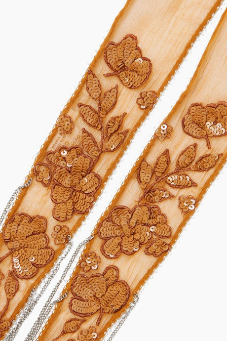 Cathay Spice Floral Embroidered Long Skinny Scarf