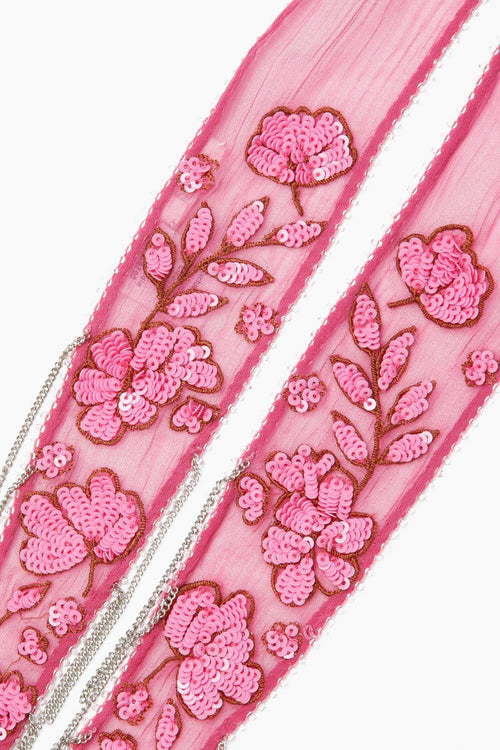 Meadow Mauve Floral Embroidered Long Skinny Scarf