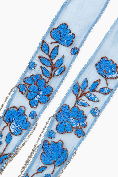 Provence Floral Embroidered Long Skinny Scarf