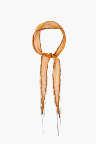 Henna Wheat Embroidered Short Skinny Scarf