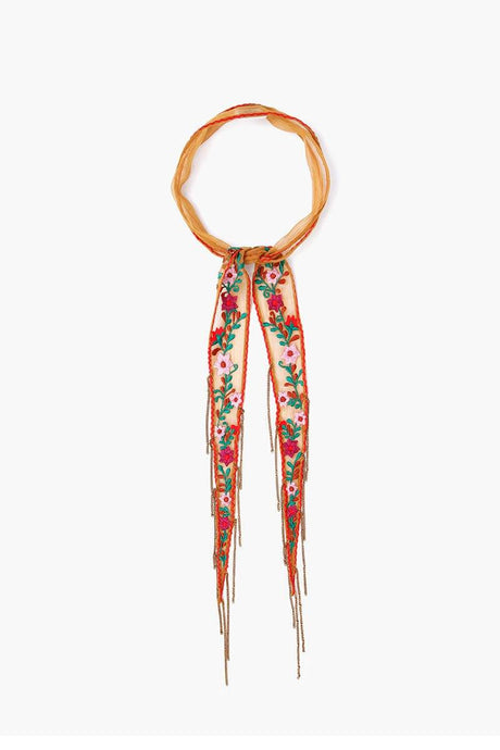 Cathay Spice Floral Embroidered Short Skinny Scarf