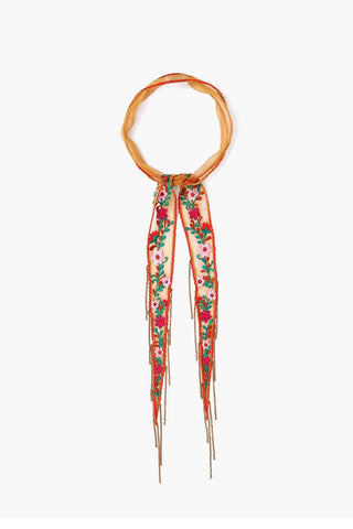 Picante Floral Embroidered Long Skinny Scarf