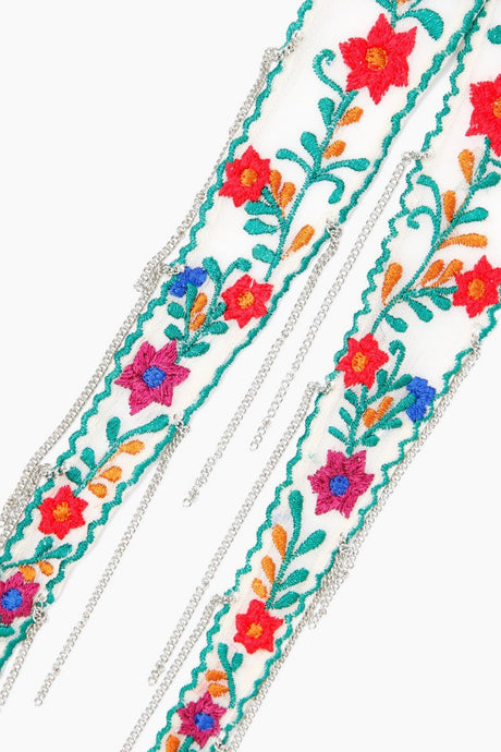 Seed Pearl Floral Embroidered Short Skinny Scarf