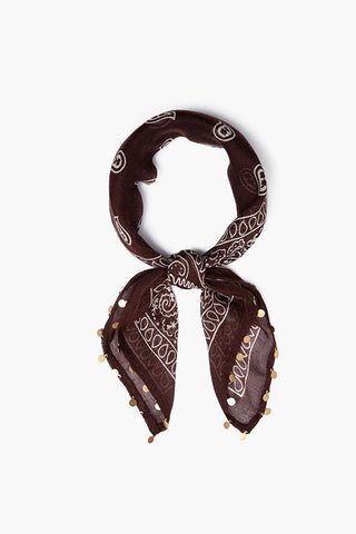 Deep Mahogany Paisley Print and Coin Bandana