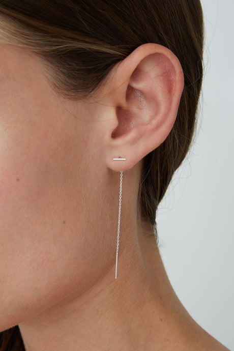 Silver Bar Chain Thread Earrings