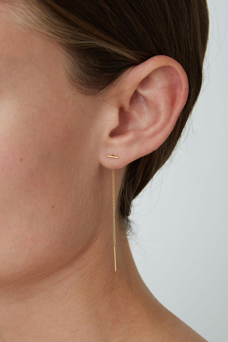 Gold Bar Chain Thread Earrings