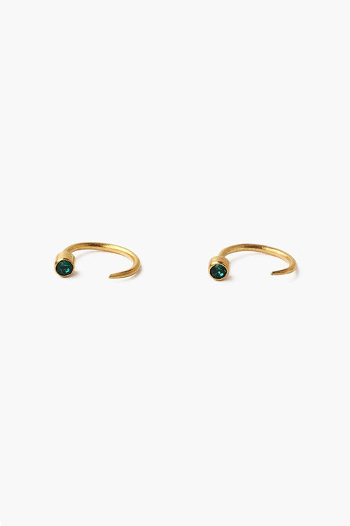 May Emerald Birthstone Hook Earrings