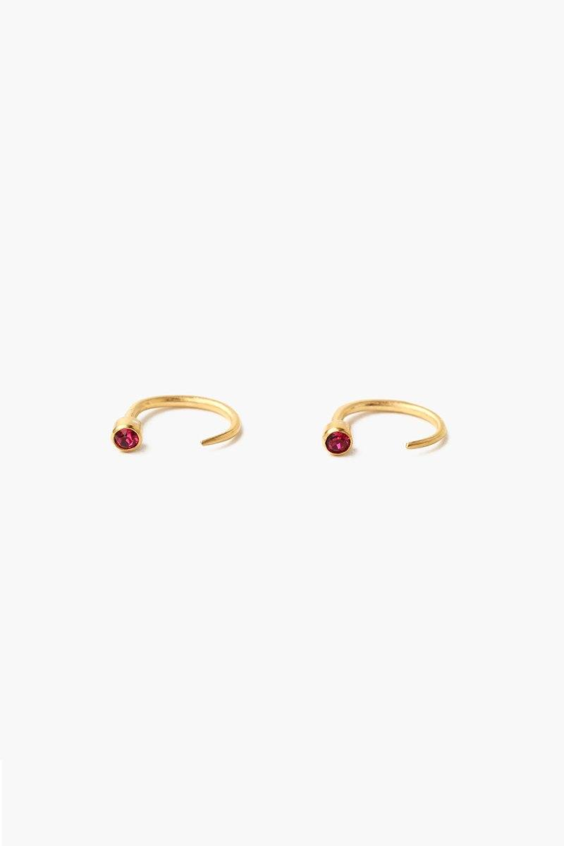 July Ruby Birthstone Hook Earrings