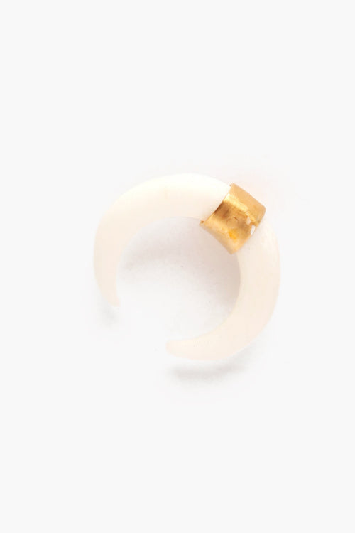 White Bone Horn Gold Stud Earrings