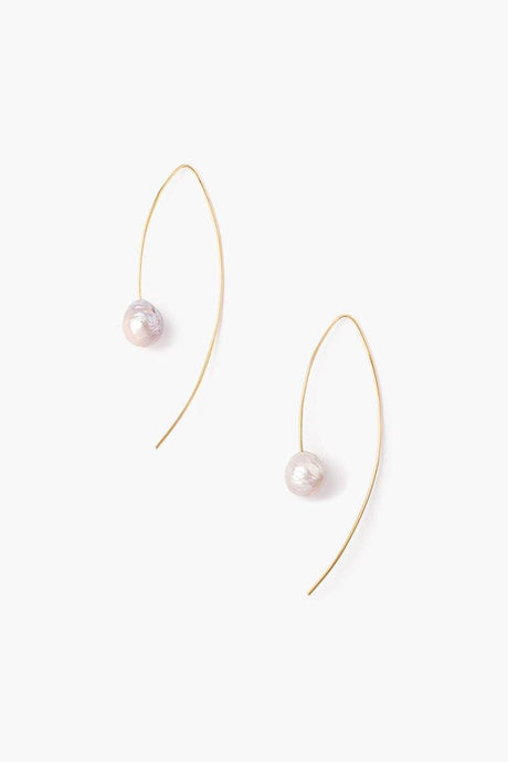 Grey and Gold Floating Pearl Drop Thread Earrings